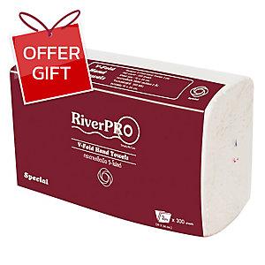 RIVERPRO HAND TOWELS V-FOLD 2 PLY 300 SHEETS
