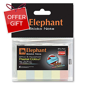 ELEPHANT PAPER FLAGS 12MM X 50MM 4 PASTEL COLOURS 600 FLAGS