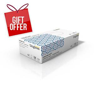 Unicare UCSV1203 Soft Vinyl PowderFree Disposable Gloves Medium (Box of 100)