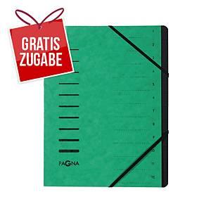 Ordnungsmappe Pagna 40059, 12 Fächer, mit Gummizug, grün