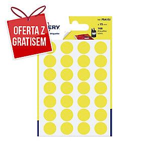 Kolorowe etykiety do zaznaczania AVERY ZWECKFORM kółka 15 mm, żółte