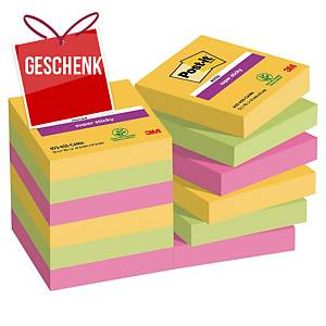 3M Post-it® 621 Super Sticky Blöcke 47,6x47,6mm, bunt, Pack. 12 Blöcke/90 Blatt