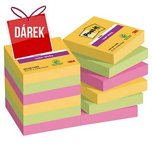 Super Sticky bločky 3M Post-it® 621, 47,6x47,6 mm, barev., bal. 12 bločk/90 líst