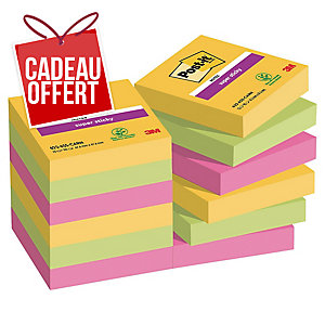 Lot de 12 blocs de notes super sticky Post-it 47,6x47,6mm rio