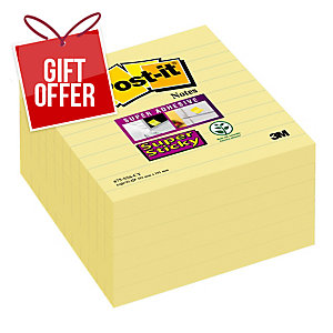 Post-It Super Sticky Notes Lined 101x101mm Yellow - Pack Of 6