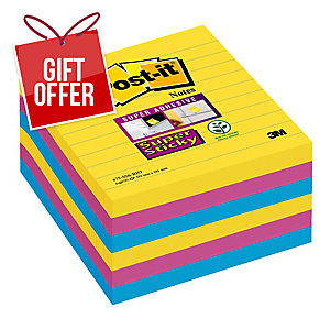 POST-IT SUPER STICKY RIO COLOUR LARGE FORMAT NOTES LINED 101 X 101MM