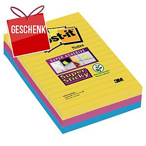 3M Post-it® 4690 Super Sticky lin. Blöcke 101x152mm, bunt, Pack. 3 Blöcke/90 Bla