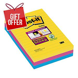 Post-It Super Sticky Notes Lined 101X152mm Rio Asst - Pack Of 3