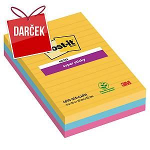 3M Post-it® 4690 Super Sticky linaj bločky 101x152mm, fareb, bal. 3 bloč/90 líst