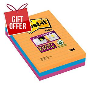 Post-It Super Sticky Notes Lined 101X152mm Bangkok Asst - Pack Of 3