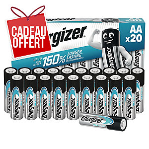 Pack 20 piles Energizer alcaline éco advanced AA/LR6