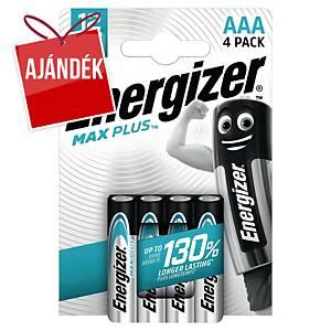 Energizer Max Plus elemek, AAA/LR03, alkáli, 4 darab/csomag