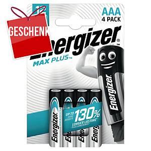 Energizer Max Plus Batterien, AAA/LR03, Alkaline, Packung mit 4 Stück