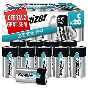 Baterie alkaliczne Energizer MAX PLUS C, 20 szt.