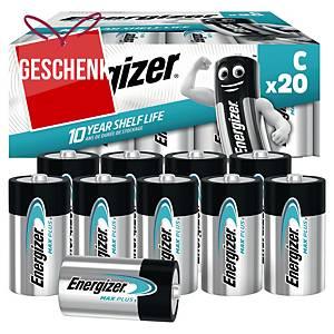Energizer Max Plus Batterien, C/LR14, Alkaline, Packung mit 20 Stück