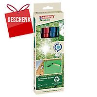 Permanent Marker Edding Ecoline 25, Rundspitze, Strichbreite 1 mm, 4er-Set, ass.