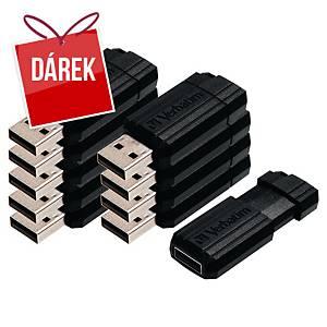 USB klíč Verbatim Pinstripe, černý, 8 GB, balení 10 kusů