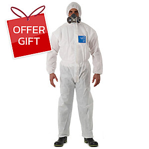 MICROGARD 1500 PLUS COVERALL CHEMICAL PROTECTION SMS LARGE WHITE