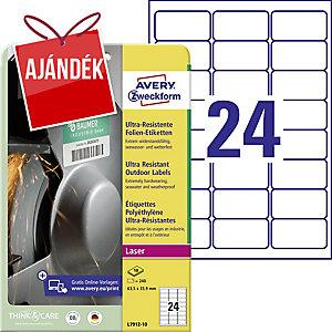 Avery Zweckform L7912-10 ultraellenálló etikettek, méret: 63,5 x 33,9 mm