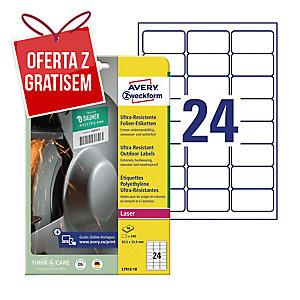 Etykiety polietylenowe Ultra Resistant AVERY ZWECKFORM 63,5 x 33,9 mm, białe*