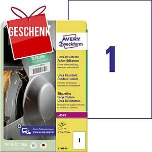 Avery ultra-resistente Etiketten, Modell: L7917-10, 210 x 297 mm, weiß