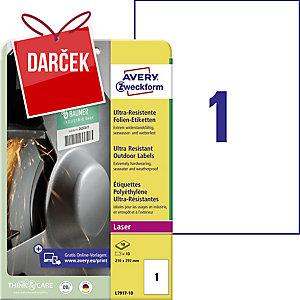 Avery ultra odolné etikety, model: L7917-10, rozmery: 210 x 297 mm, farba: biela
