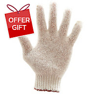 400G GLOVES COTTON PAIR FREE SIZE WHITE/BROWN PACK OF 12