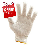 700G GLOVES COTTON PAIR FREE SIZE WHITE/YELLOW PACK OF 12