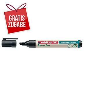 Flipchartmarker edding 32 EcoLine, Keilspitze, Strichstärke: 1-5mm, schwarz