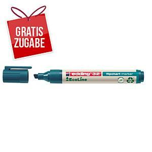 Flipchartmarker edding 32 EcoLine, Keilspitze, Strichstärke: 1-5mm, blau