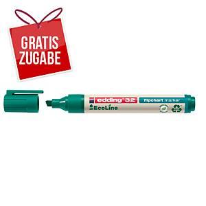 Flipchartmarker edding 32 EcoLine, Keilspitze, Strichstärke: 1-5mm, grün