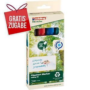 Flipchartmarker edding 32 EcoLine, Keilspitze, Strichstärke: 1-5mm, sort., 4 St
