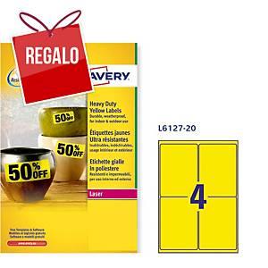 Caja de 80 etiquetas de poliéster Avery L6127-20 - 99,1 x 139 mm - amarillo