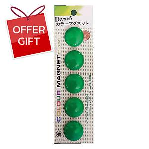 DM-30 Magnetic Beans Round 30mm Green - Pack of 5