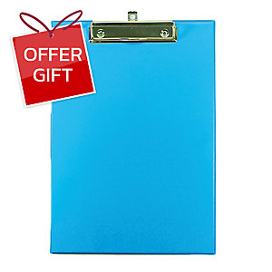 ORCA 102 PVC PLASTIC COVERED CLIPBOARD A4 LIGHT BLUE