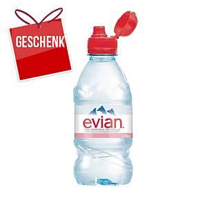 Evian Mineralwasser ohne Kohlensäure mit Flip Cap 33 cl, Packung à 24 Flaschen