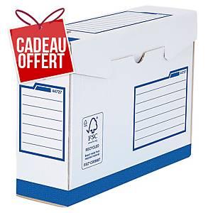 Boîte d archives Bankers Box A4+ - manuel - dos 8 cm - blanc/bleu - par 20