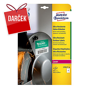 Avery ultra odolné etikety, model: L7915-10,rozmery: 99,1 x 139 mm, farba: biela