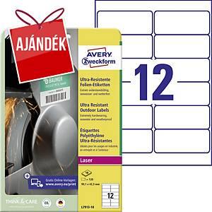 Avery ultra ellenálló címke, L7913-10, 99,1 x 42,3 mm, fehér
