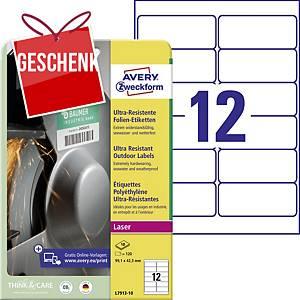 Avery ultra-resistente Etiketten, L7913-10, 99,1 x 42,3 mm, weiß