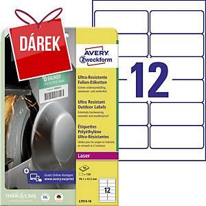 Ultra odolné etikety Avery, L7913-10, 99,1 x 42,3 mm, bílá