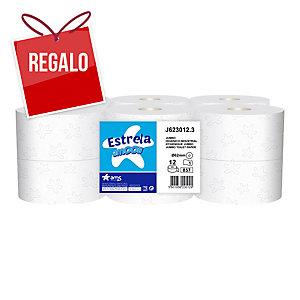 Pack de 12 bobinas de papel higiénico Mini-Jumbo AMOOS 1 capa 300m