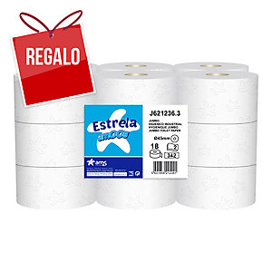 Pack de 18 bobinas de papel higiénico Mini-Jumbo AMOOS 2 capas 120m