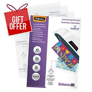 Fellowes A3 Laminating Pouches Gloss 160 Microns (2 X 80) - Pack of 100