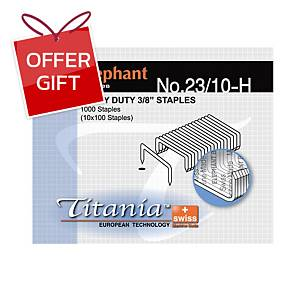 ELEPHANT TITANIA 23/10-H STAPLES - BOX OF 1000