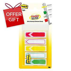 POST-IT 684-ARR-RYG FLAGS 0.47  X 1.7  ASSORTED 5 COLOURS