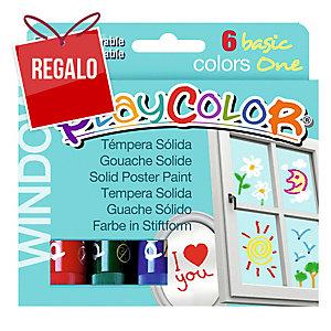 Pack de 6 témperas sólidas PLAYCOLOR one window colores surtidos