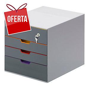 Arquivo DURABLE fabricado em ABS de 4 gavetas com chave e 5 cores