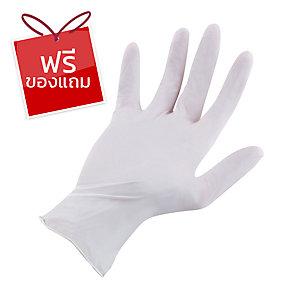 SAFE-FLEX ถุงมือ มีแป้ง ลาเท็กซ์ M ขาว แพ็ค 50 คู่