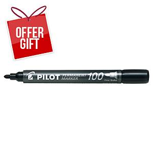 Pilot Sca 100 Black Permanent Marker Bullet Tip - Box Of 12